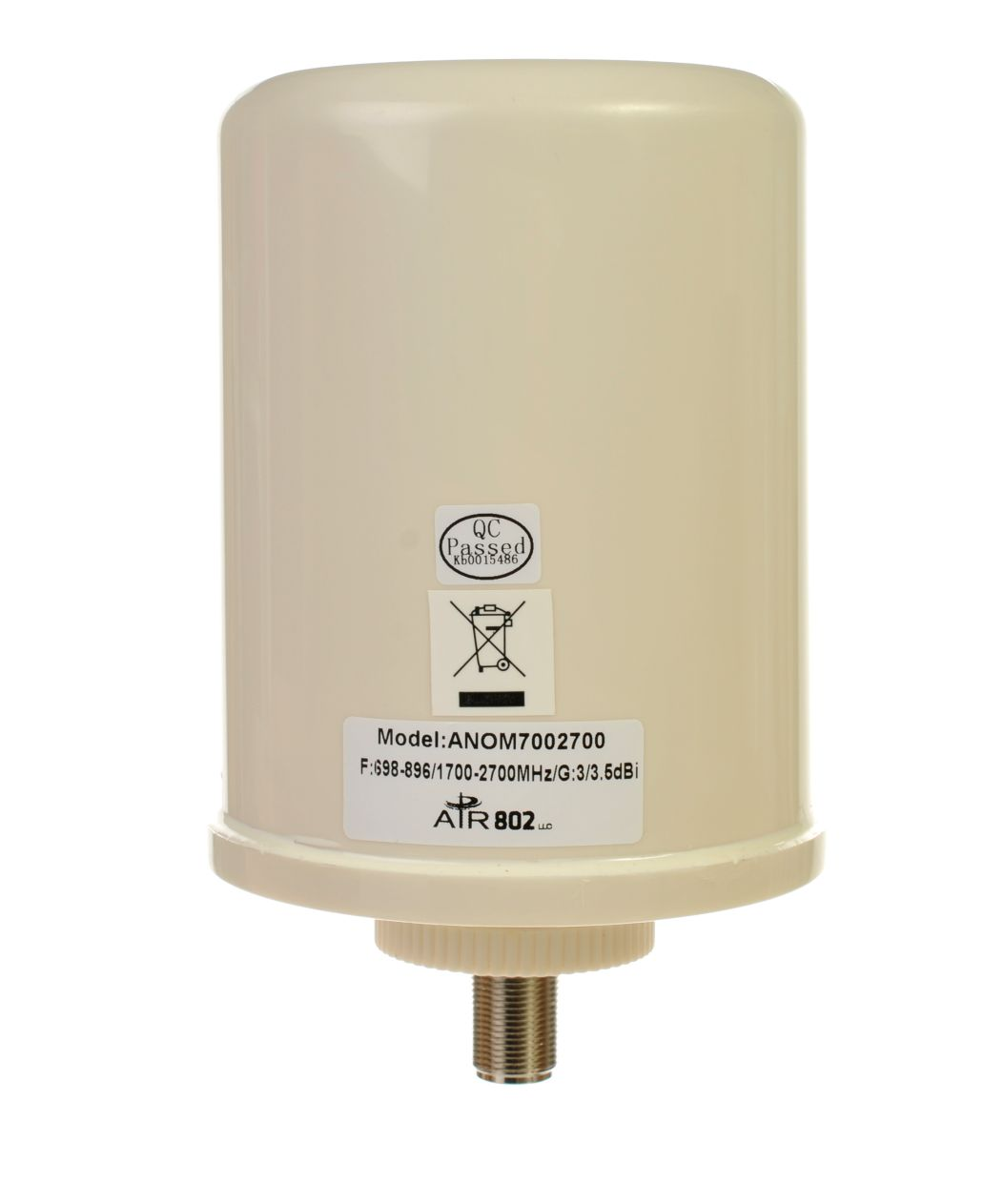 ANOM7002700 Ceiling Mount Cellular and WiFi Antenna for 698 to 896 and 1700 to 2700 MHz with 3.5 dBi and N Female Connector