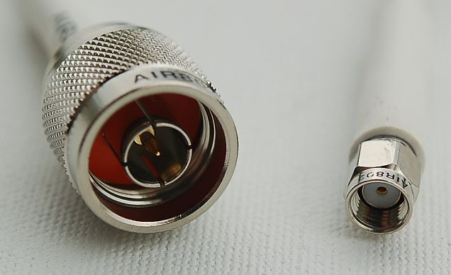 CA195 White Antenna Cable N Male to RP-SMA Plug-Male 1 Foot