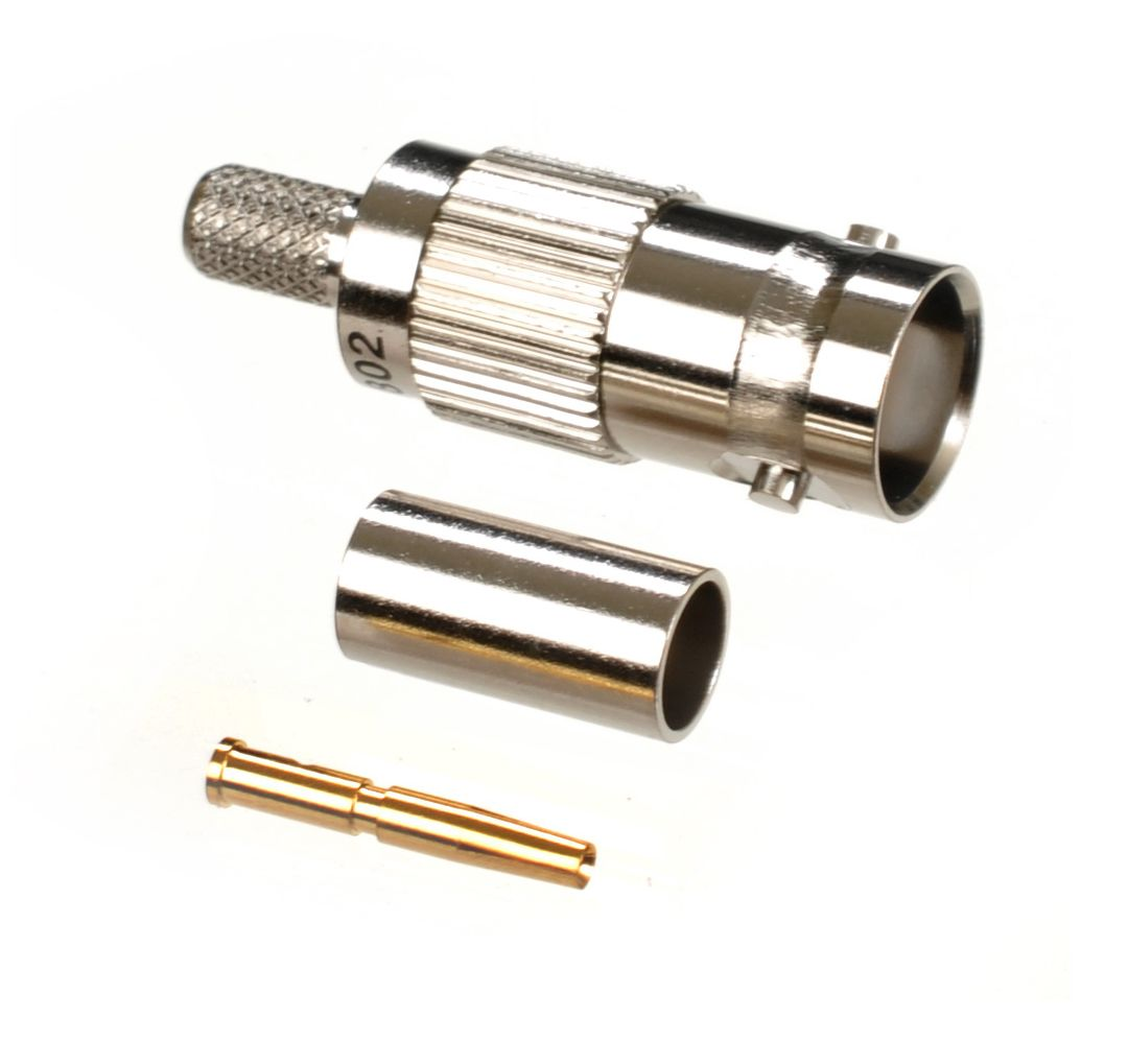 BNC jack or female crimp connector for AIR802 CA195, Times Microwave LMR195, RG58 and similar size coaxial cables.