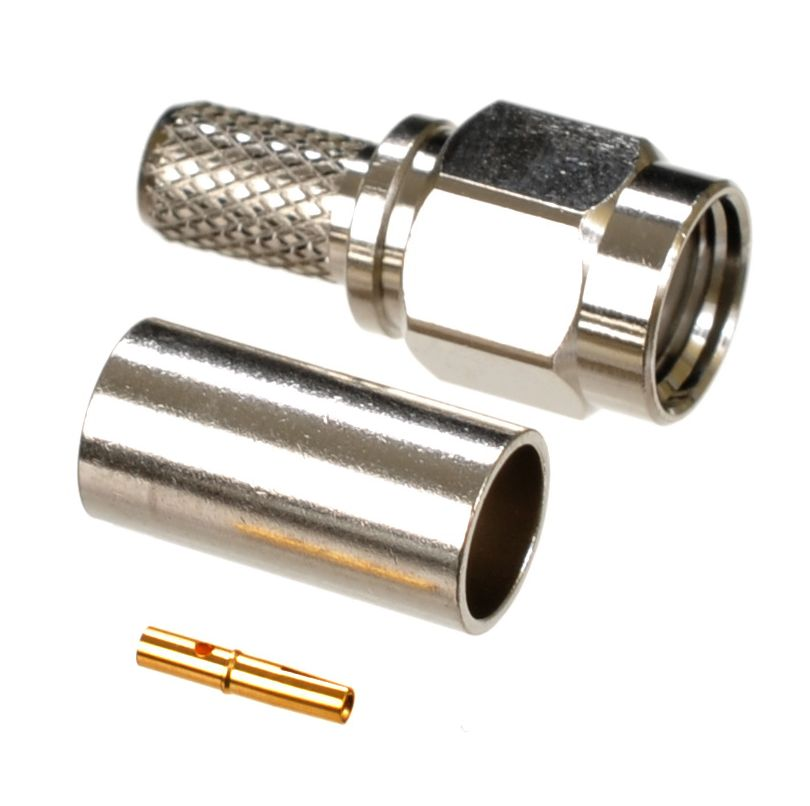 RP-SMA plug-male connector for AIR802 CA195, Times Microwave LMR195, RG58 and similar sized coaxial cables.