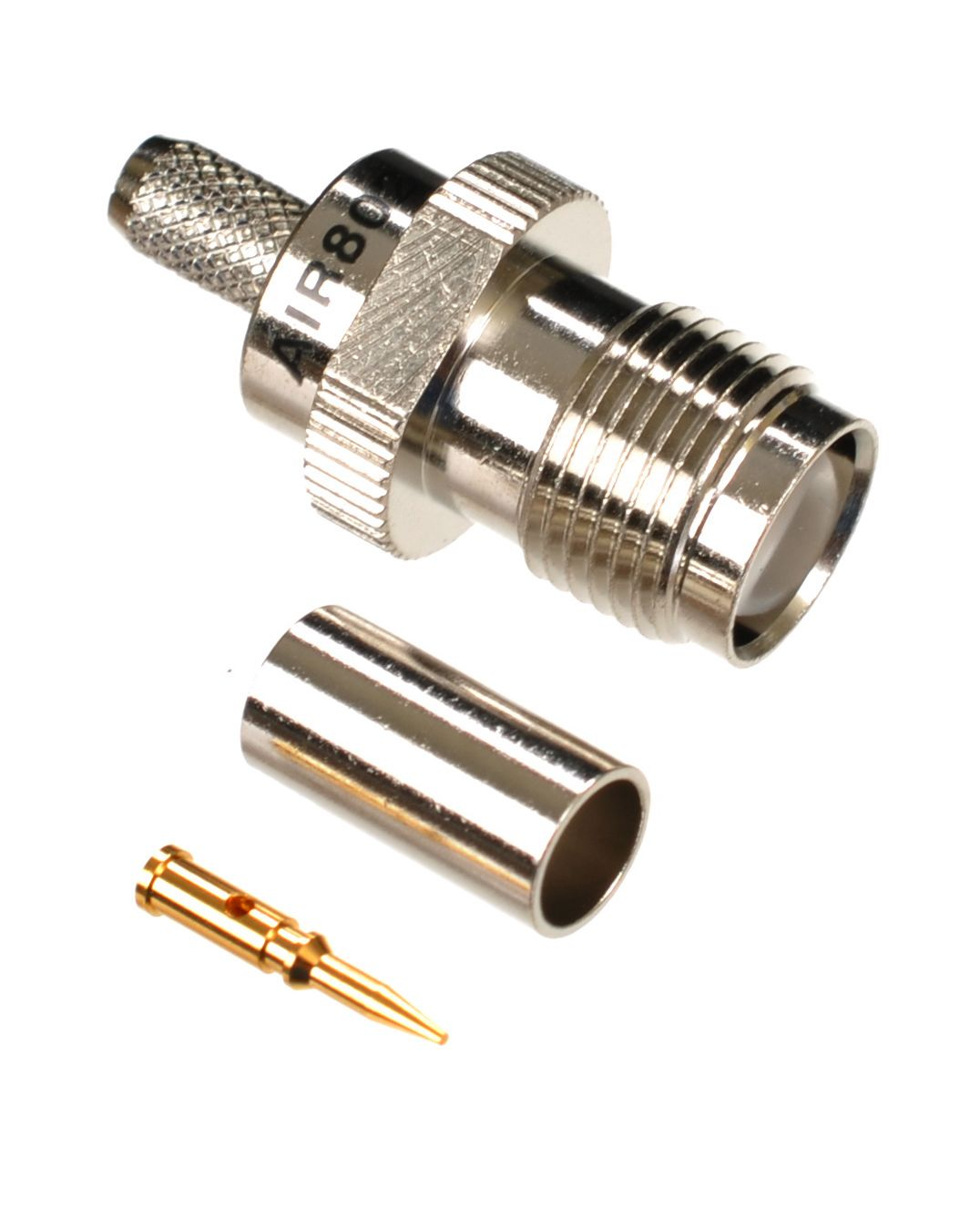 RP-TNC jack-female crimp connector for AIR802 CA195, Times Microwave LMR195, RG58 and similar sized coaxial cables.