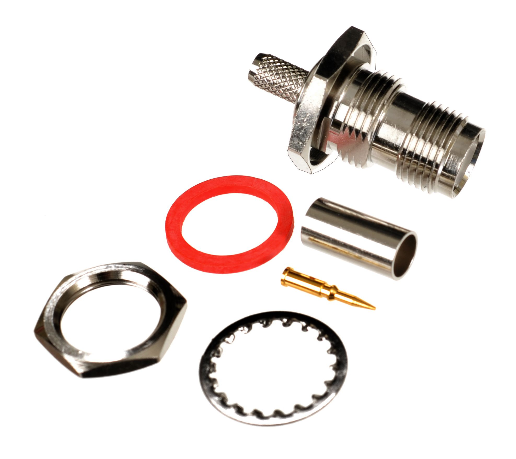 RP-TNC jack-female bulkhead crimp connector for AIR802 CA195, Times Microwave LMR195, RG58 and similar sized coaxial cables