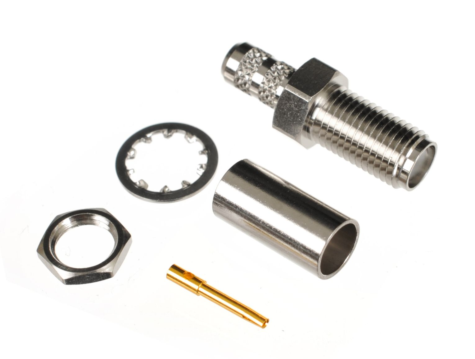 SMA jack or female bulkhead connector for CA195, LMR195 and RG58 coaxial cable sizes.