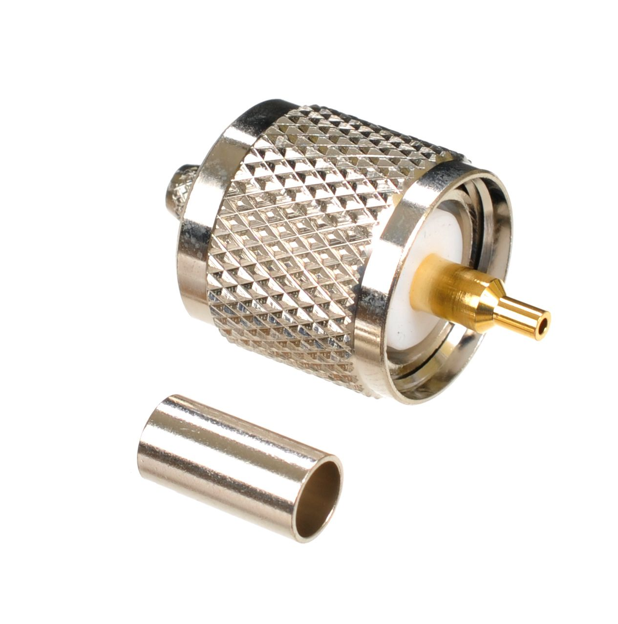 UHF plug-male or PL-259 connector for AIR802 CA195, Times Microwave LMR195, R58 and equivalent size cables.