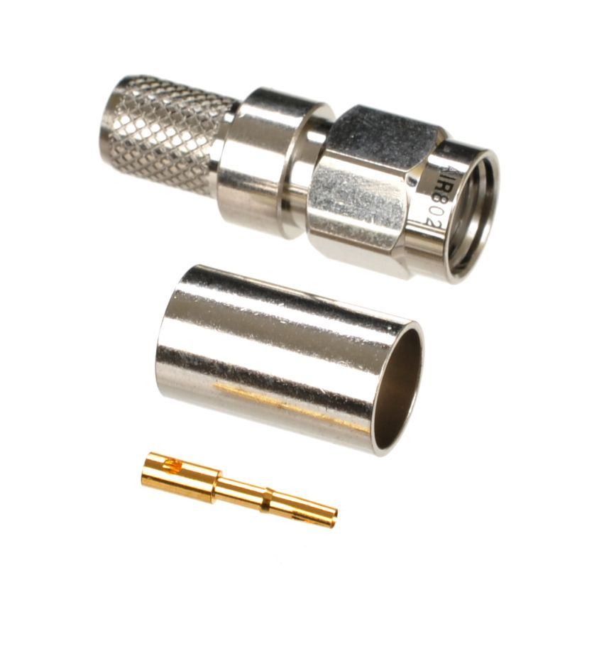 RP-SMA plug-male crimp connector for AIR802 CA240, Times Microwave LMR240, RG8X and similar sized coaxial cables.