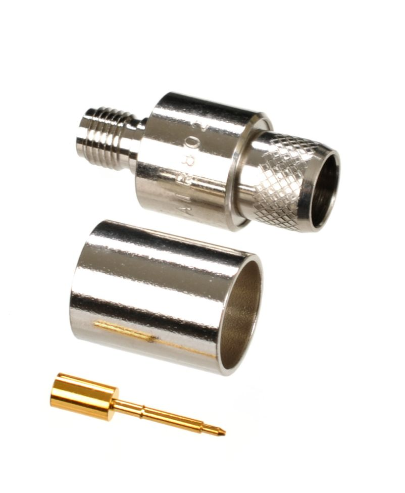 RP-SMA jack-female crimp connector for AIR802 CA400, Times Microwave LMR600, Belden 9913 and similar size coaxial cables.