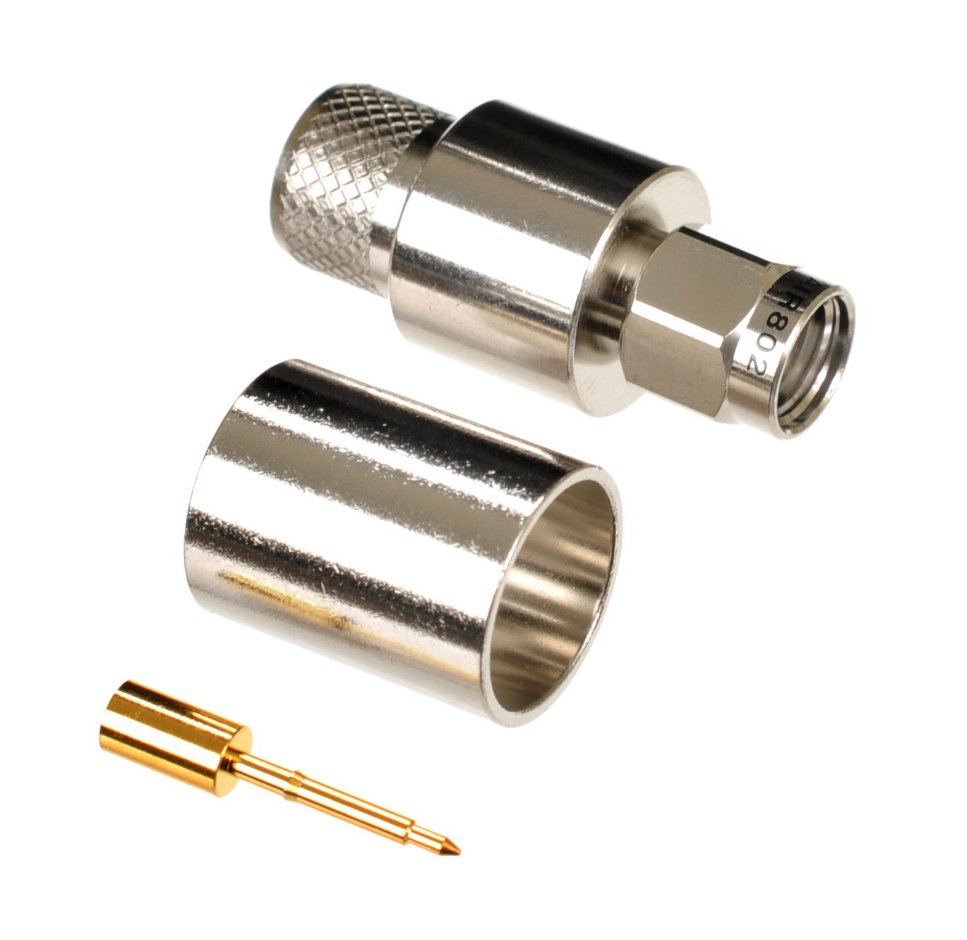 SMA plug or male connector for CA400, LMR400 and Belden 9913 size coaxial cables.