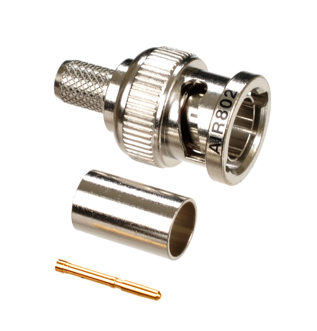 BNC plug or male crimp 3-piece connector for 75 Ohm 20 AWG coaxial cables