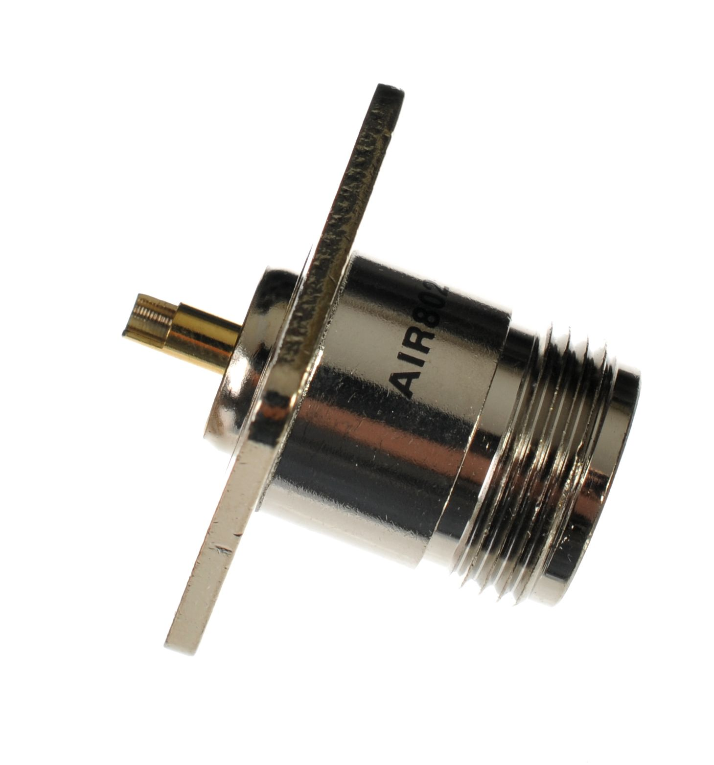 N jack or female chassis mounted 4-hole 1 inch flange connector for solder.