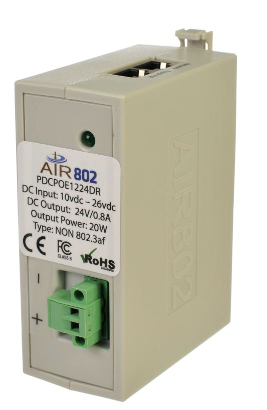 Front Side of PDCPOE1224DR DC to DC Converter with 24 vdc Output