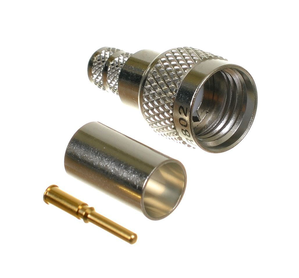 Mini Uhf Plug Male Crimp Connector For Cable Types Air802 Ca240 Times Microwave Lmr240 Rg8x Belden 9258 And Equivalent Size Cables