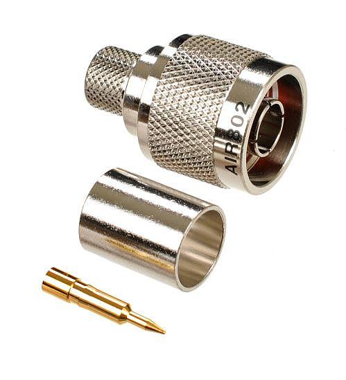 N Plug Male Crimp Connector Standard | LMR400 & Equivalent Cable